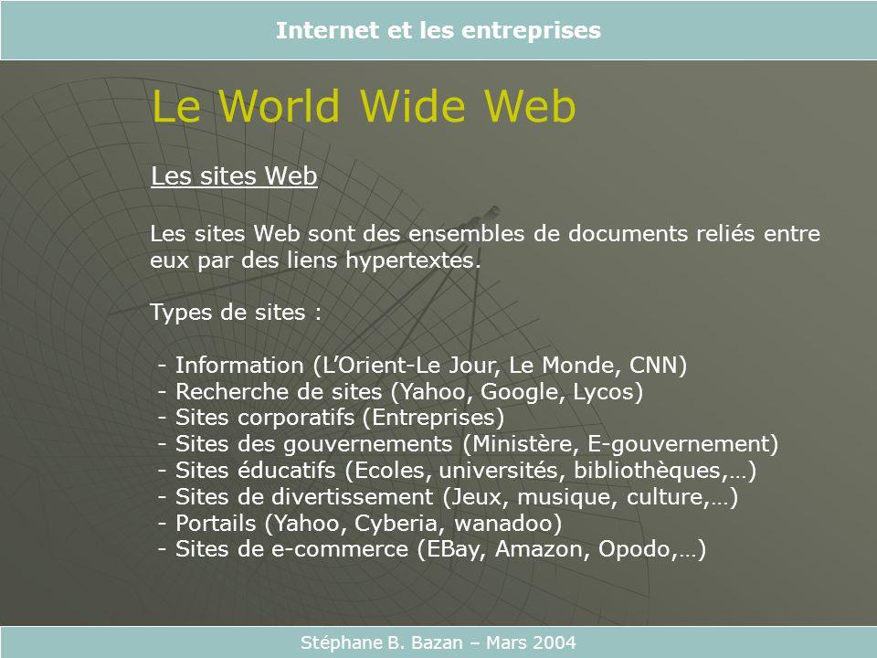 Internet et les entreprises Stéphane B. Bazan – Mars 2004 Le World Wide Web Les sites Web Les sites Web sont des ensembles de documents reliés entre e