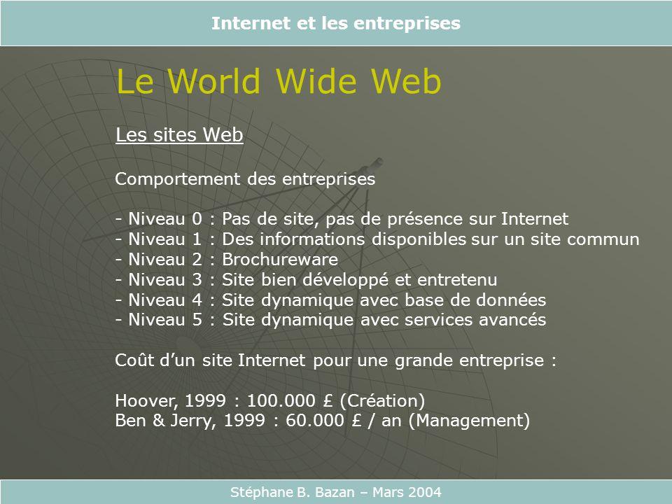 Internet et les entreprises Stéphane B. Bazan – Mars 2004 Le World Wide Web Les sites Web Comportement des entreprises - Niveau 0 : Pas de site, pas d