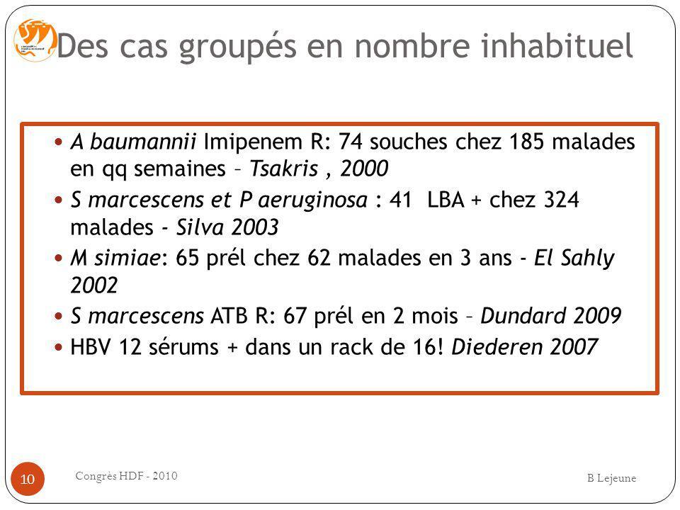 Des cas groupés en nombre inhabituel A baumannii Imipenem R: 74 souches chez 185 malades en qq semaines – Tsakris, 2000 S marcescens et P aeruginosa :