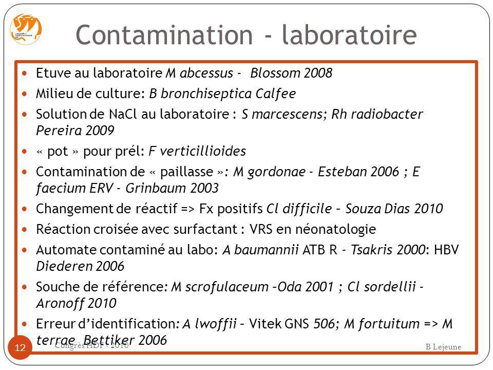 Contamination - laboratoire Etuve au laboratoire M abcessus - Blossom 2008 Milieu de culture: B bronchiseptica Calfee Solution de NaCl au laboratoire