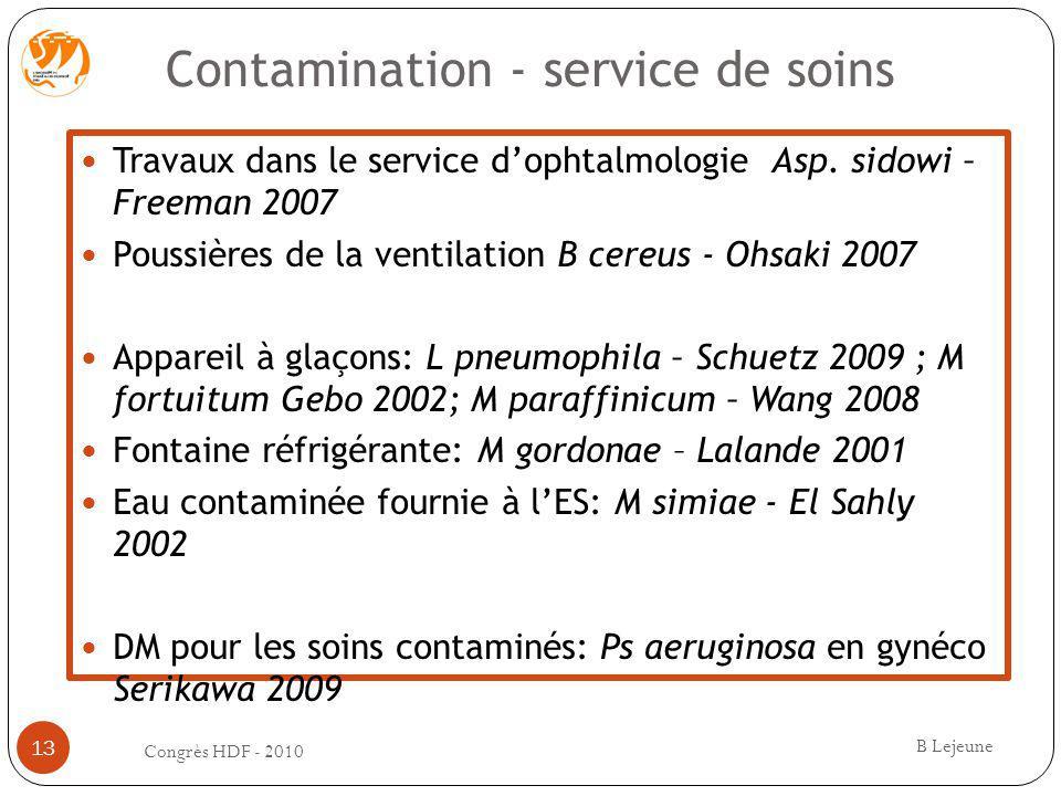 Contamination - service de soins Travaux dans le service dophtalmologie Asp. sidowi – Freeman 2007 Poussières de la ventilation B cereus - Ohsaki 2007