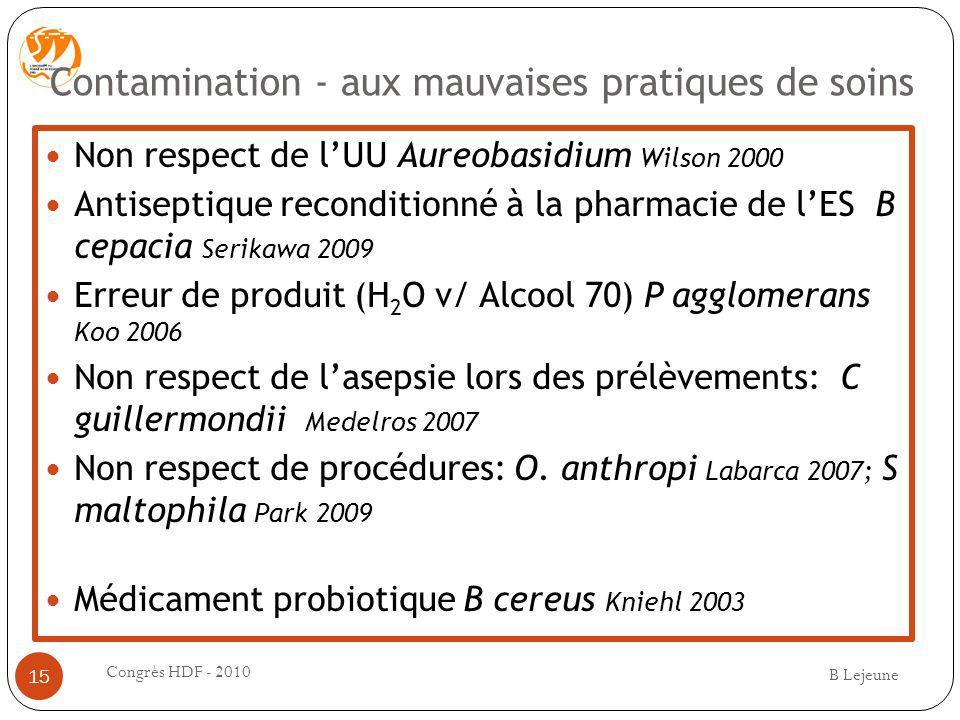 Contamination - aux mauvaises pratiques de soins Non respect de lUU Aureobasidium Wilson 2000 Antiseptique reconditionné à la pharmacie de lES B cepac