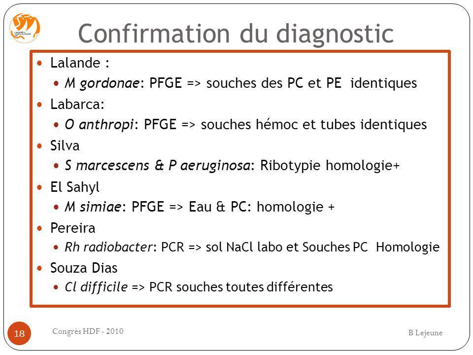 Confirmation du diagnostic Lalande : M gordonae: PFGE => souches des PC et PE identiques Labarca: O anthropi: PFGE => souches hémoc et tubes identique