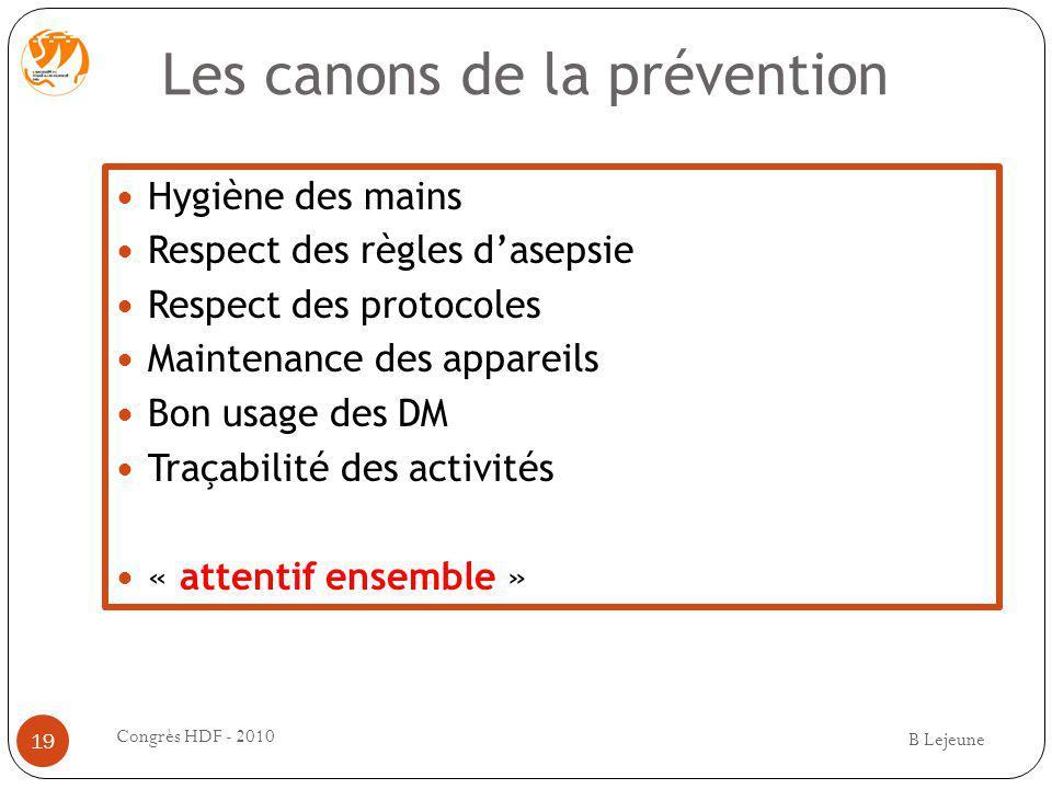 Les canons de la prévention Hygiène des mains Respect des règles dasepsie Respect des protocoles Maintenance des appareils Bon usage des DM Traçabilit