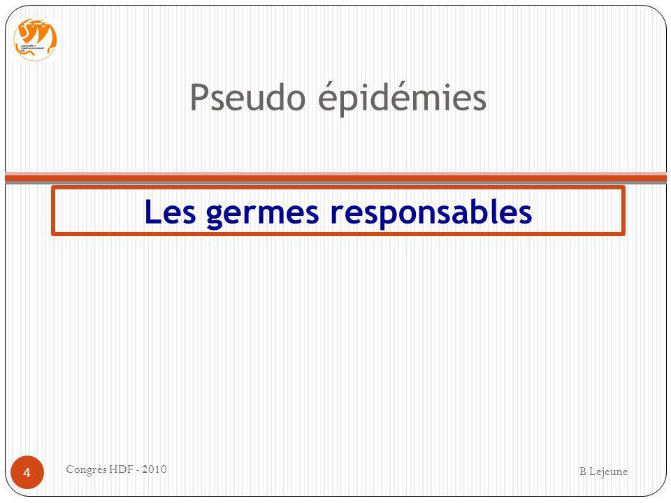 Pseudo épidémies Les germes responsables B Lejeune Congrès HDF - 2010 4