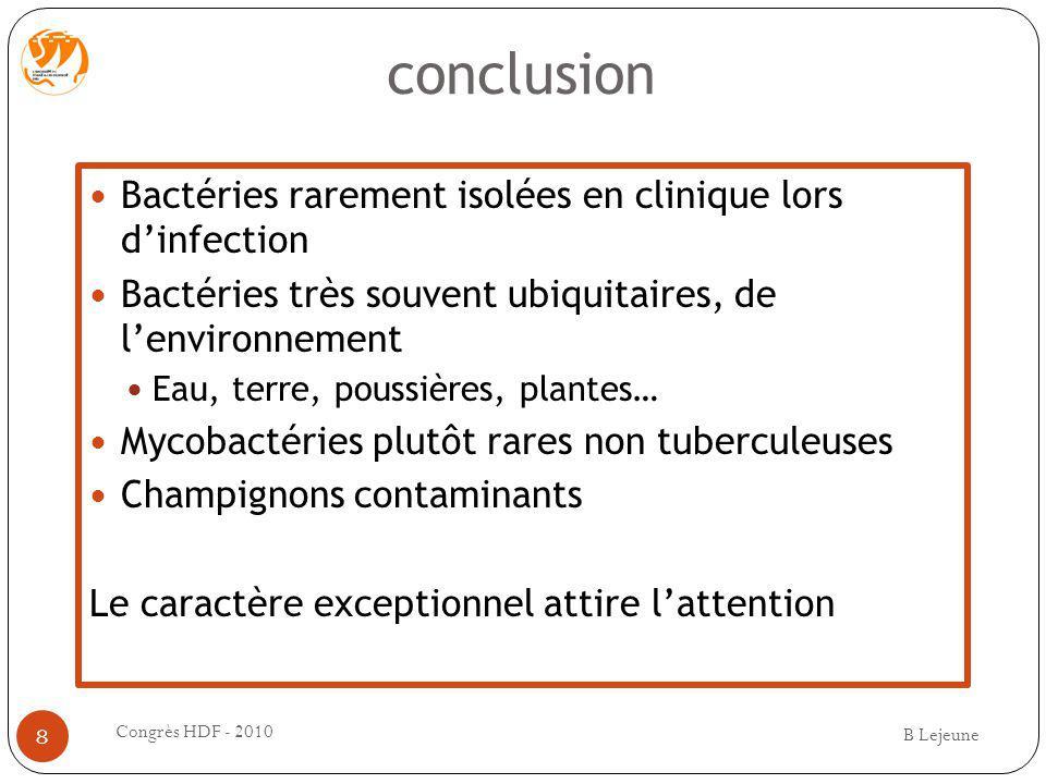 conclusion Bactéries rarement isolées en clinique lors dinfection Bactéries très souvent ubiquitaires, de lenvironnement Eau, terre, poussières, plant