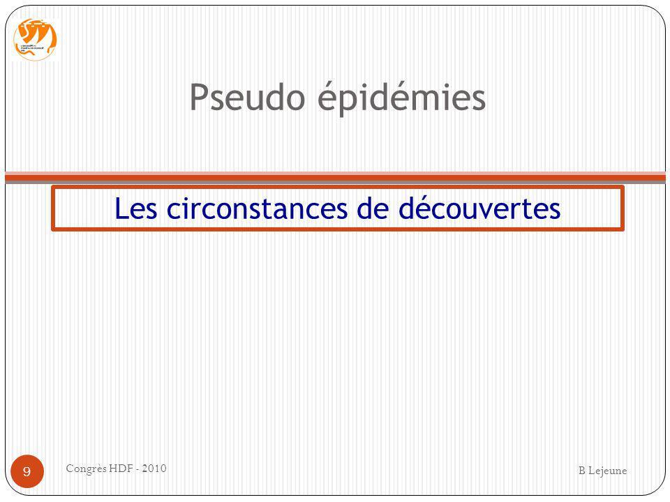 Pseudo épidémies Les circonstances de découvertes B Lejeune Congrès HDF - 2010 9