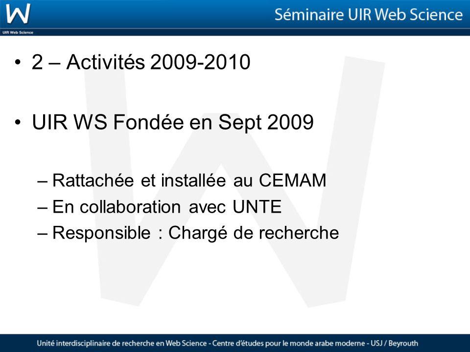UIR WS Fondée en Sept 2009 –Rattachée et installée au CEMAM –En collaboration avec UNTE –Responsible : Chargé de recherche