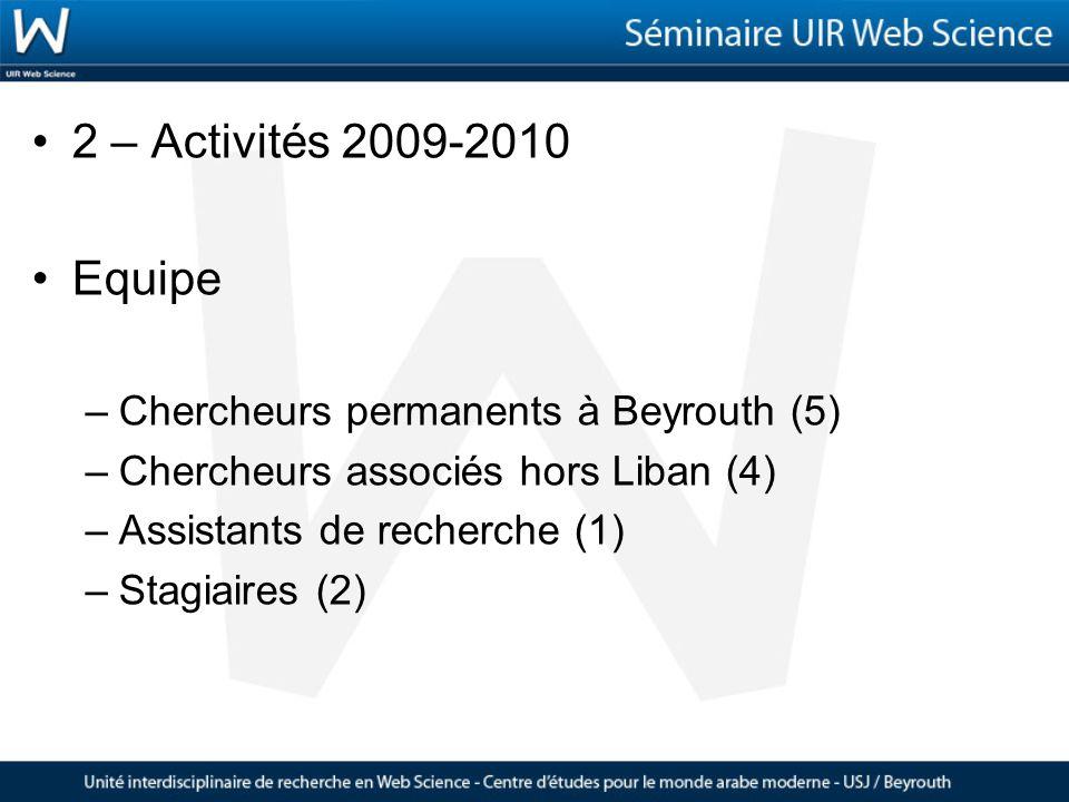 2 – Activités 2009-2010 Equipe –Chercheurs permanents à Beyrouth (5) –Chercheurs associés hors Liban (4) –Assistants de recherche (1) –Stagiaires (2)