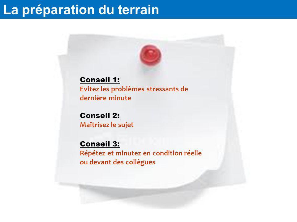 La préparation du terrain Conseil 1: Evitez les problèmes stressants de dernière minute Conseil 3: Répétez et minutez en condition réelle ou devant de