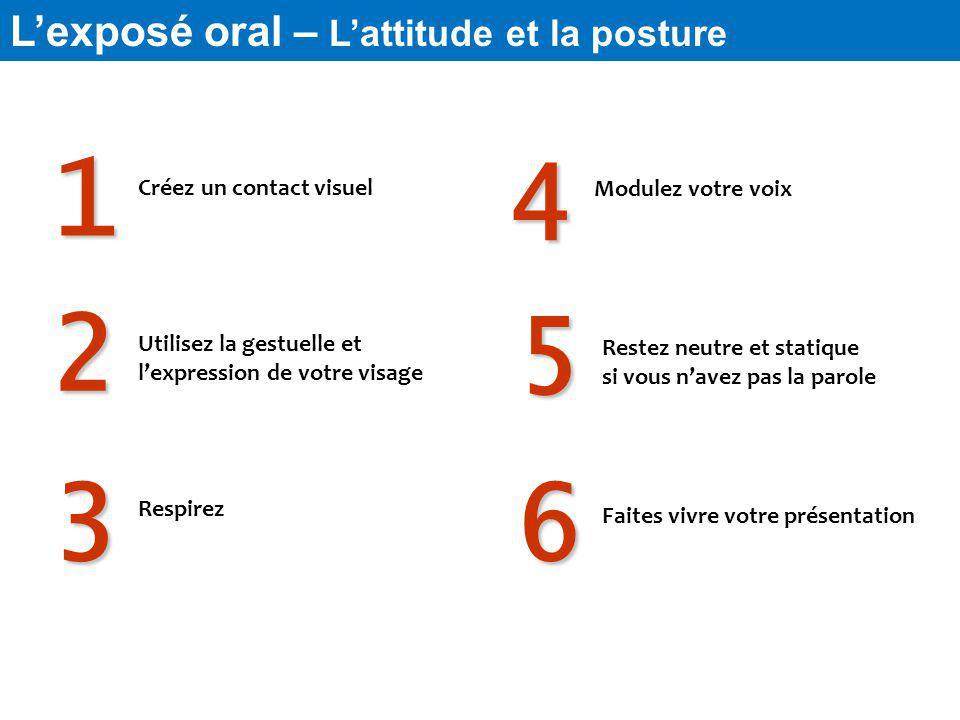 1 4 Lexposé oral – Lattitude et la posture Créez un contact visuel Respirez Utilisez la gestuelle et lexpression de votre visage Modulez votre voix Re