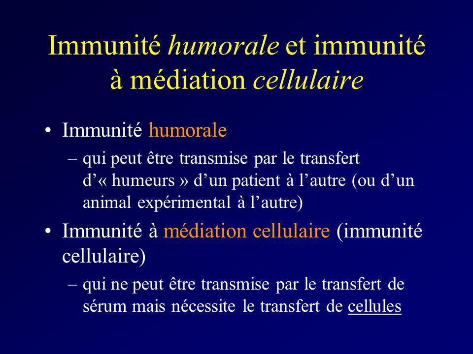 Immunité humorale et immunité à médiation cellulaire Immunité humorale –qui peut être transmise par le transfert d« humeurs » dun patient à lautre (ou