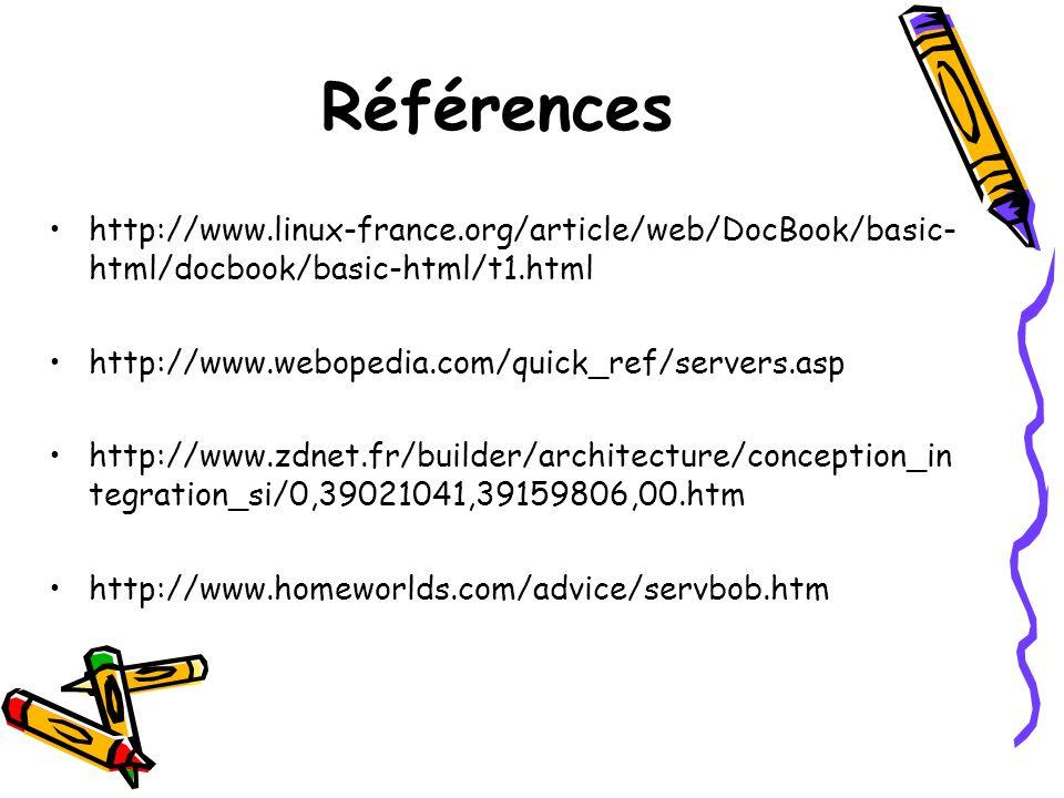 Références http://www.linux-france.org/article/web/DocBook/basic- html/docbook/basic-html/t1.html http://www.webopedia.com/quick_ref/servers.asp http: