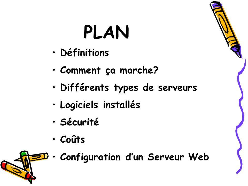 Définitions Comment ça marche? Différents types de serveurs Logiciels installés Sécurité Coûts Configuration dun Serveur Web PLAN