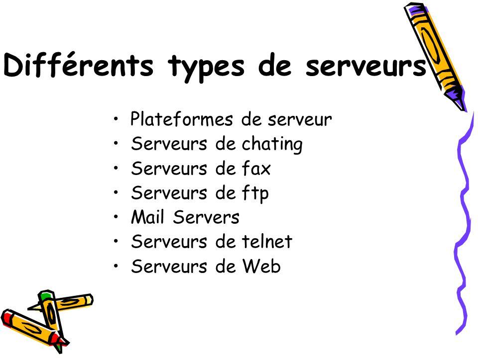 Différents types de serveurs Plateformes de serveur Serveurs de chating Serveurs de fax Serveurs de ftp Mail Servers Serveurs de telnet Serveurs de We