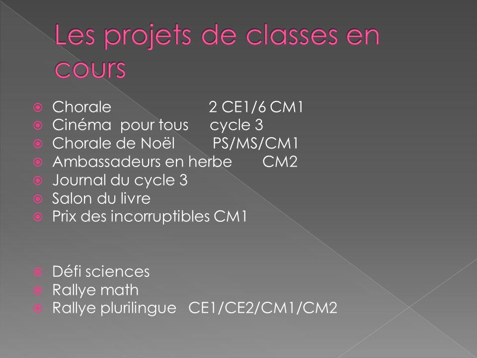 Chorale 2 CE1/6 CM1 Cinéma pour tous cycle 3 Chorale de Noël PS/MS/CM1 Ambassadeurs en herbe CM2 Journal du cycle 3 Salon du livre Prix des incorrupti