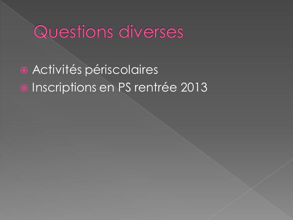 Activités périscolaires Inscriptions en PS rentrée 2013
