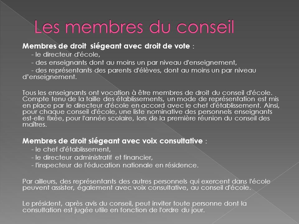 Membres de droit siégeant avec droit de vote : - le directeur d'école, - des enseignants dont au moins un par niveau d'enseignement, - des représentan