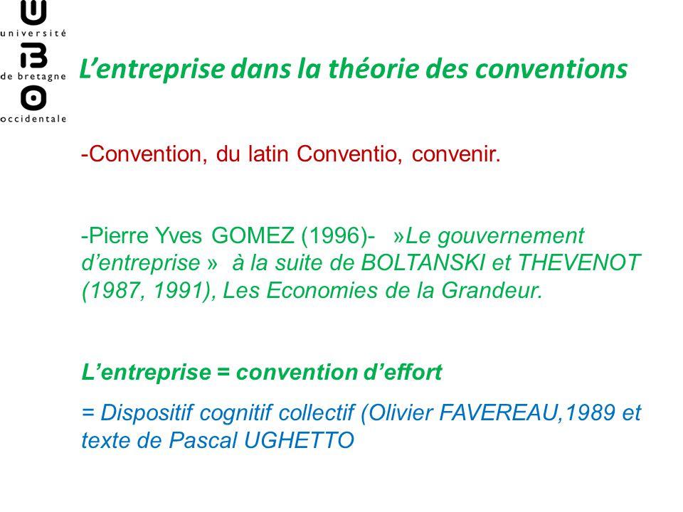 Lentreprise dans la théorie des conventions -Convention, du latin Conventio, convenir.