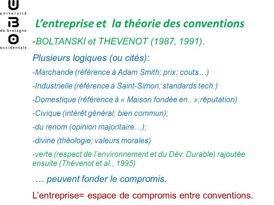 Lentreprise et la théorie des conventions -Enjeu: la possibilité dintroduire les éléments culturels au sein de la Théorie des organisations.