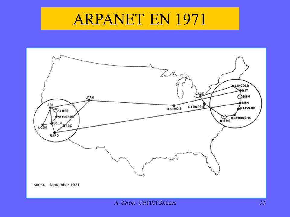 A. Serres. URFIST Rennes30 ARPANET EN 1971