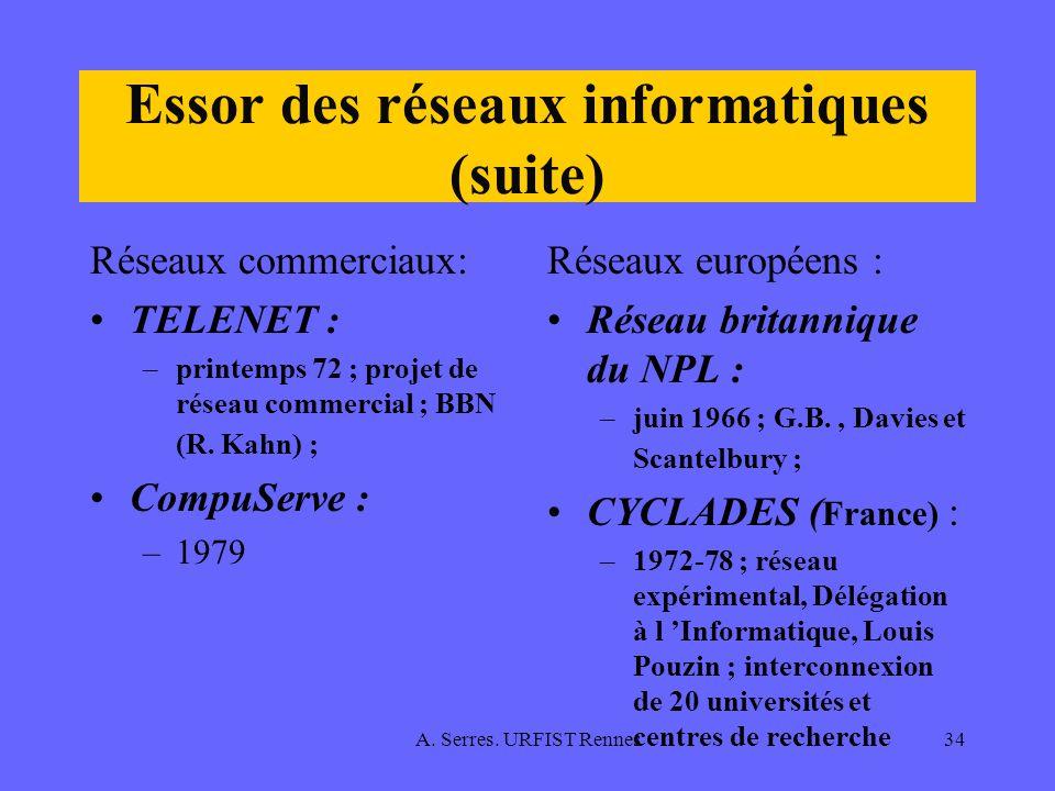 A. Serres. URFIST Rennes34 Essor des réseaux informatiques (suite) Réseaux commerciaux: TELENET : –printemps 72 ; projet de réseau commercial ; BBN (R