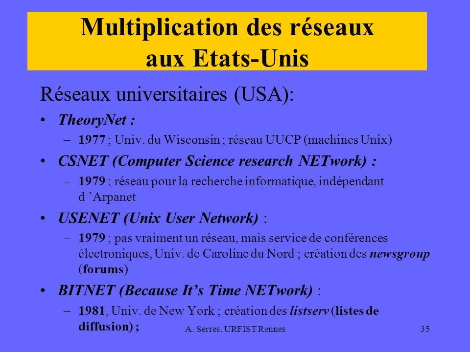 A. Serres. URFIST Rennes35 Multiplication des réseaux aux Etats-Unis Réseaux universitaires (USA): TheoryNet : –1977 ; Univ. du Wisconsin ; réseau UUC