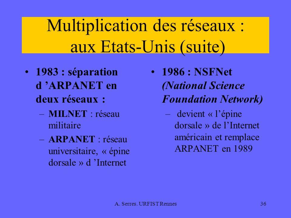 A. Serres. URFIST Rennes36 Multiplication des réseaux : aux Etats-Unis (suite) 1983 : séparation d ARPANET en deux réseaux : –MILNET : réseau militair