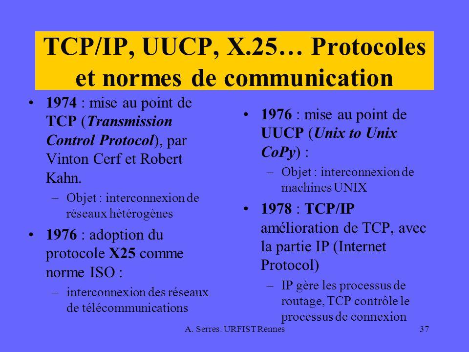 A. Serres. URFIST Rennes37 TCP/IP, UUCP, X.25… Protocoles et normes de communication 1974 : mise au point de TCP (Transmission Control Protocol), par