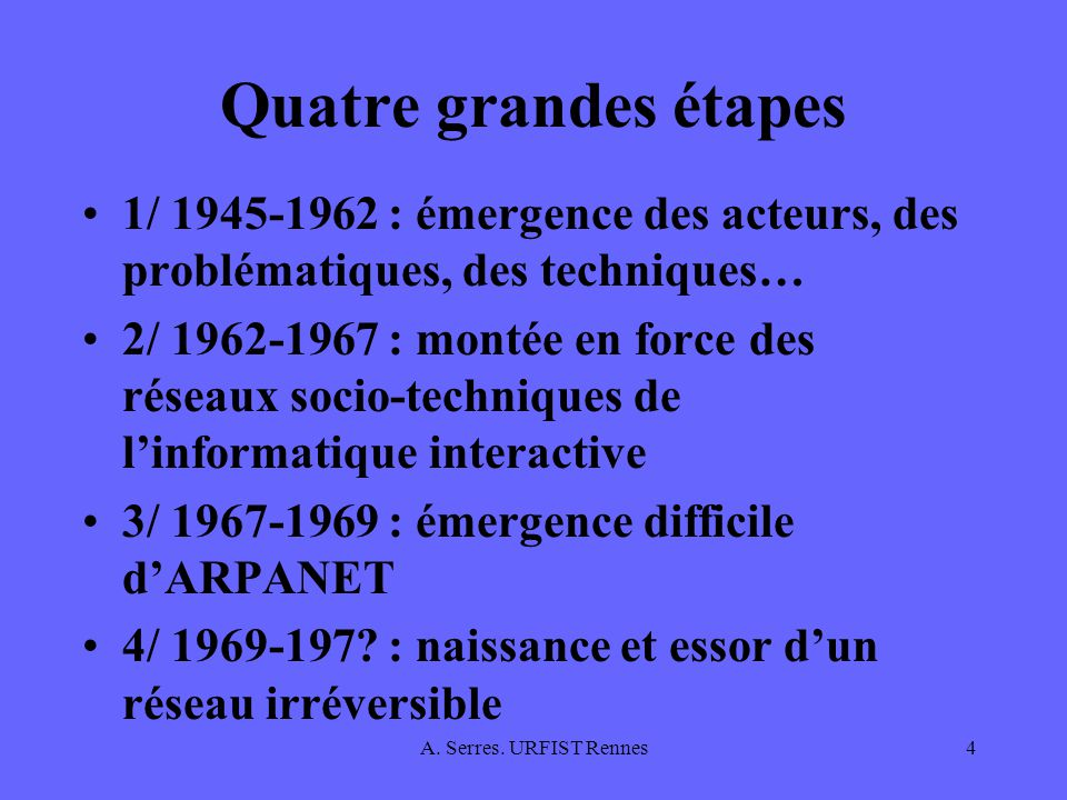 A. Serres. URFIST Rennes4 Quatre grandes étapes 1/ 1945-1962 : émergence des acteurs, des problématiques, des techniques… 2/ 1962-1967 : montée en for