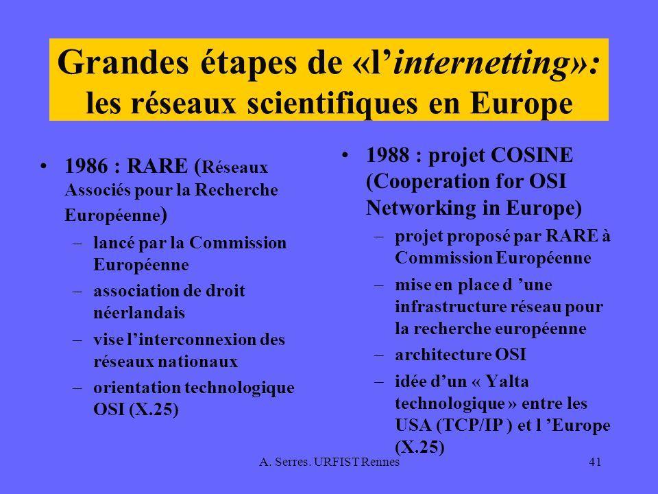 A. Serres. URFIST Rennes41 Grandes étapes de «linternetting»: les réseaux scientifiques en Europe 1986 : RARE ( Réseaux Associés pour la Recherche Eur
