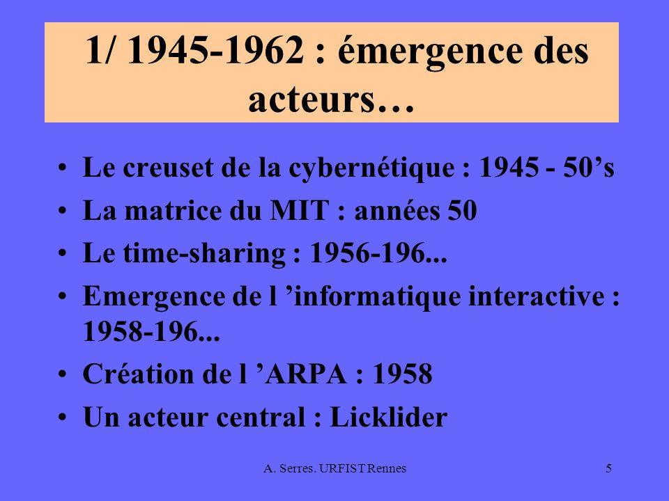 A. Serres. URFIST Rennes5 1/ 1945-1962 : émergence des acteurs… Le creuset de la cybernétique : 1945 - 50s La matrice du MIT : années 50 Le time-shari