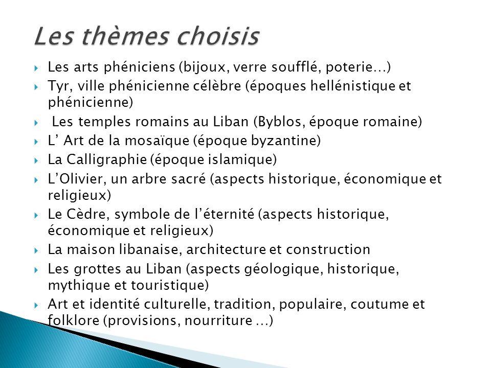 Les arts phéniciens (bijoux, verre soufflé, poterie…) Tyr, ville phénicienne célèbre (époques hellénistique et phénicienne) Les temples romains au Lib