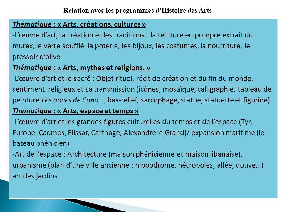 Thématique : « Arts, créations, cultures » -Lœuvre dart, la création et les traditions : la teinture en pourpre extrait du murex, le verre soufflé, la