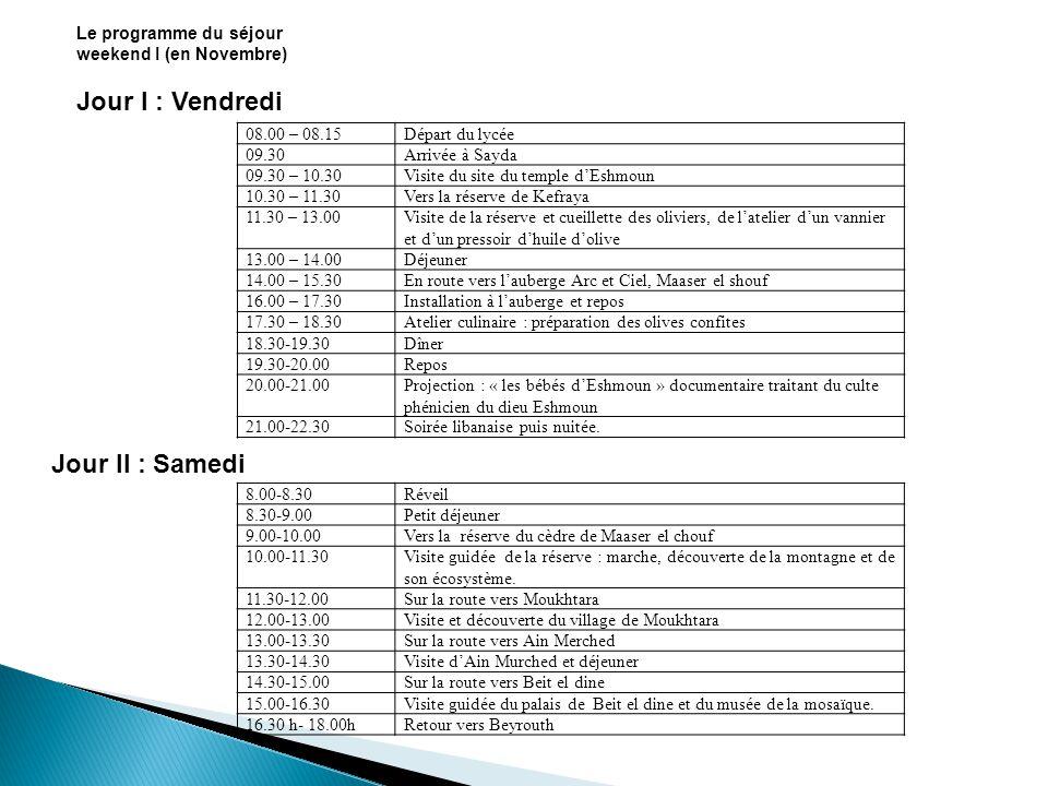 Le programme du séjour weekend I (en Novembre) Jour I : Vendredi Départ du lycée08.00 – 08.15 Arrivée à Sayda09.30 Visite du site du temple dEshmoun09