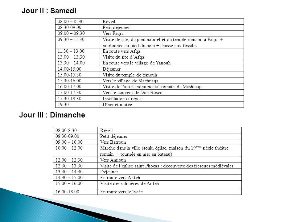 Jour II : Samedi Jour III : Dimanche Réveil08.00 – 8 :30 Petit déjeuner08.30-09.00 Vers Faqra09.00 – 09.30 Visite de site, du pont naturel et du templ