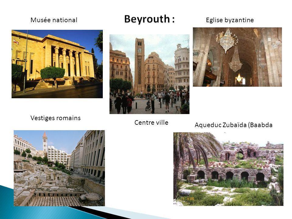 Musée national Vestiges romains Centre ville Eglise byzantine Aqueduc Zubaïda (Baabda