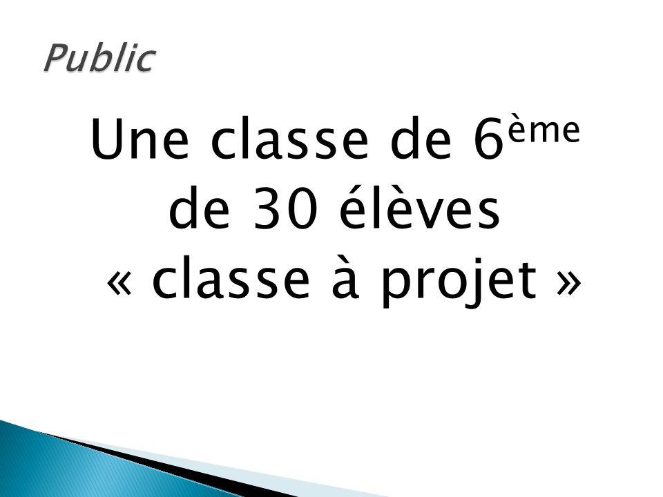 Une classe de 6 ème de 30 élèves « classe à projet »