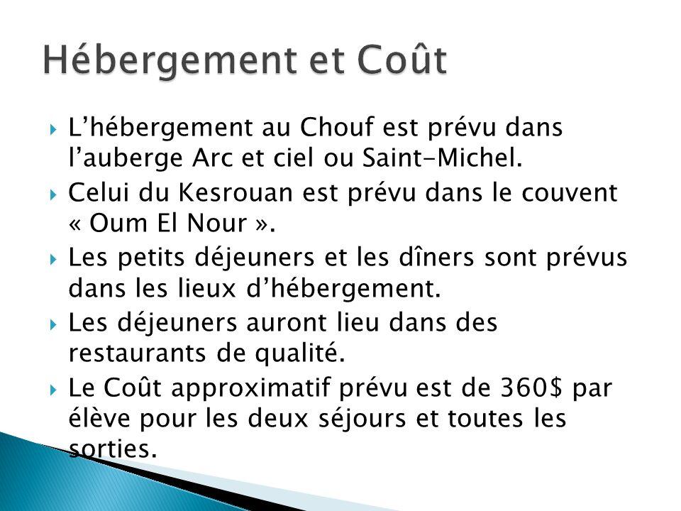 Lhébergement au Chouf est prévu dans lauberge Arc et ciel ou Saint-Michel. Celui du Kesrouan est prévu dans le couvent « Oum El Nour ». Les petits déj