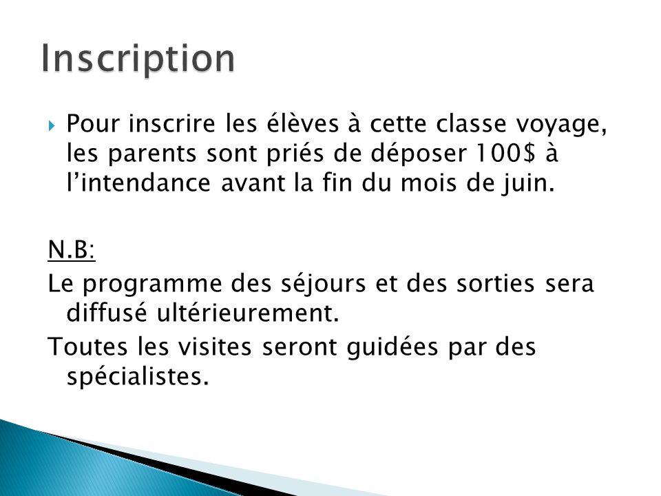 Pour inscrire les élèves à cette classe voyage, les parents sont priés de déposer 100$ à lintendance avant la fin du mois de juin. N.B: Le programme d
