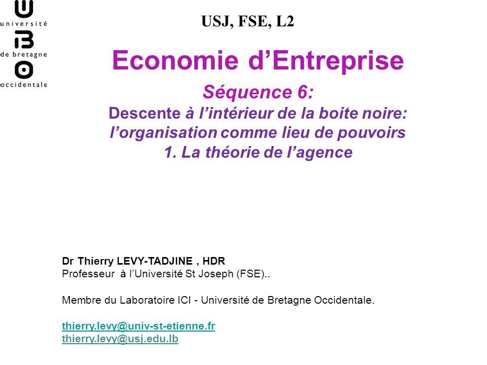Economie dEntreprise Séquence 6: Descente à lintérieur de la boite noire: lorganisation comme lieu de pouvoirs 1. La théorie de lagence USJ, FSE, L2 D