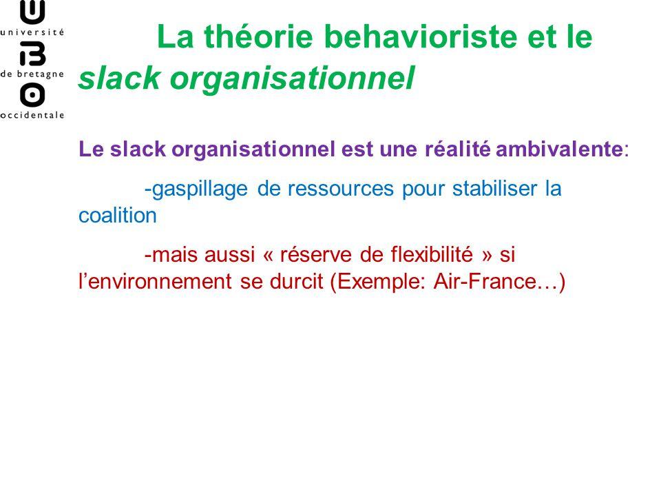 La théorie behavioriste et le slack organisationnel Le slack organisationnel est une réalité ambivalente: -gaspillage de ressources pour stabiliser la