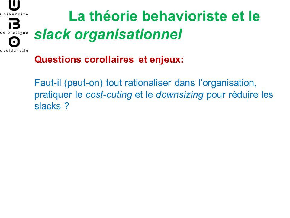La théorie behavioriste et le slack organisationnel Questions corollaires et enjeux: Faut-il (peut-on) tout rationaliser dans lorganisation, pratiquer