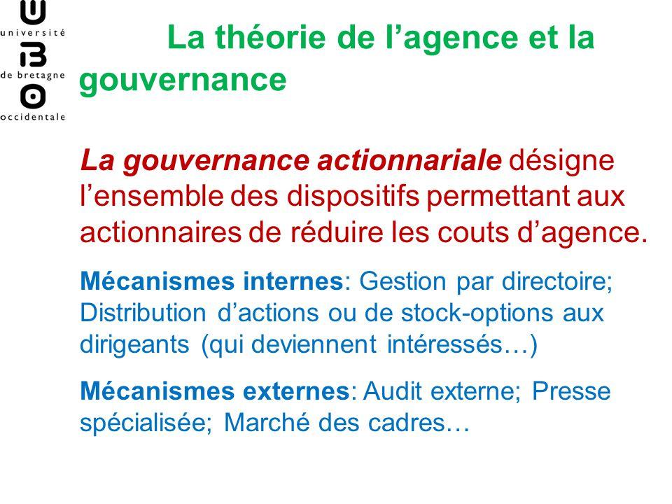 La théorie de lagence et la gouvernance La gouvernance actionnariale désigne lensemble des dispositifs permettant aux actionnaires de réduire les cout