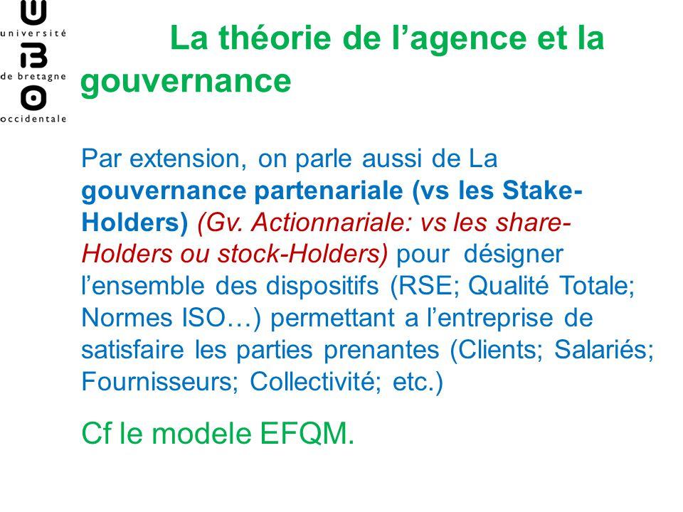 La théorie de lagence et la gouvernance Par extension, on parle aussi de La gouvernance partenariale (vs les Stake- Holders) (Gv. Actionnariale: vs le