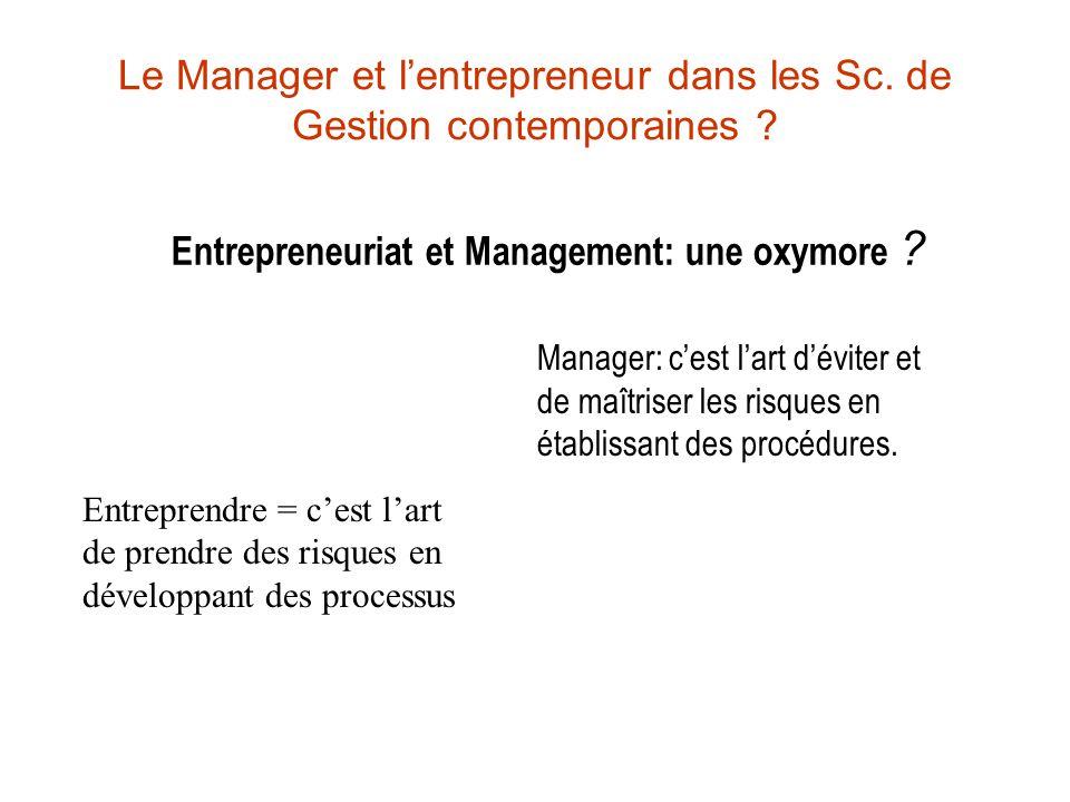 Le Manager et lentrepreneur dans les Sc. de Gestion contemporaines ? Entrepreneuriat et Management: une oxymore ? Entreprendre = cest lart de prendre
