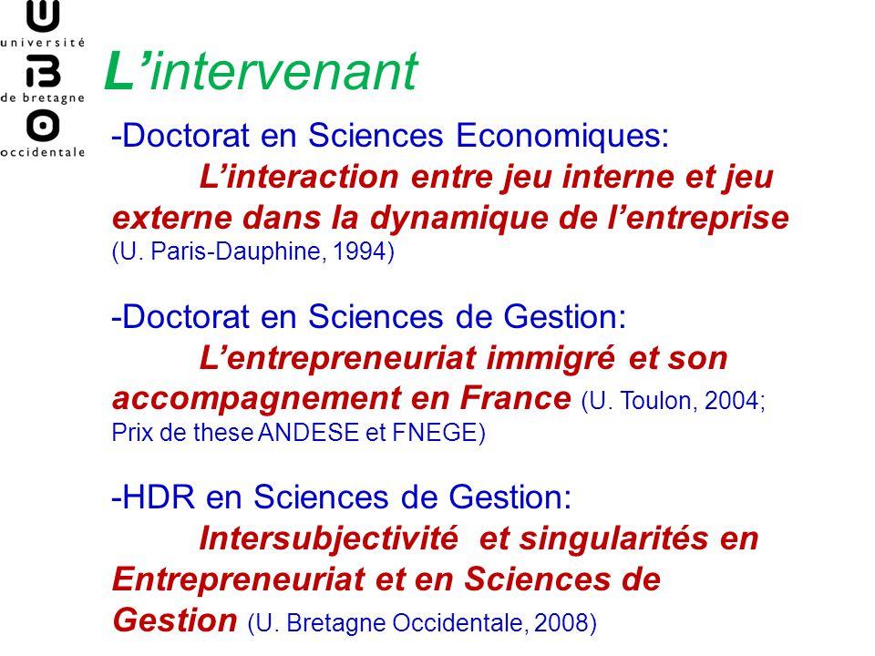 Lintervenant -Doctorat en Sciences Economiques: Linteraction entre jeu interne et jeu externe dans la dynamique de lentreprise (U. Paris-Dauphine, 199