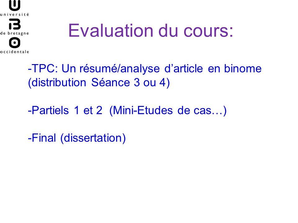 Evaluation du cours: -TPC: Un résumé/analyse darticle en binome (distribution Séance 3 ou 4) -Partiels 1 et 2 (Mini-Etudes de cas…) -Final (dissertati