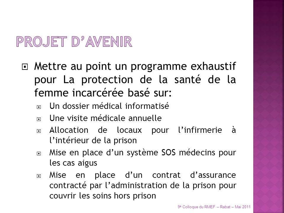 Mettre au point un programme exhaustif pour La protection de la santé de la femme incarcérée basé sur: Un dossier médical informatisé Une visite médic