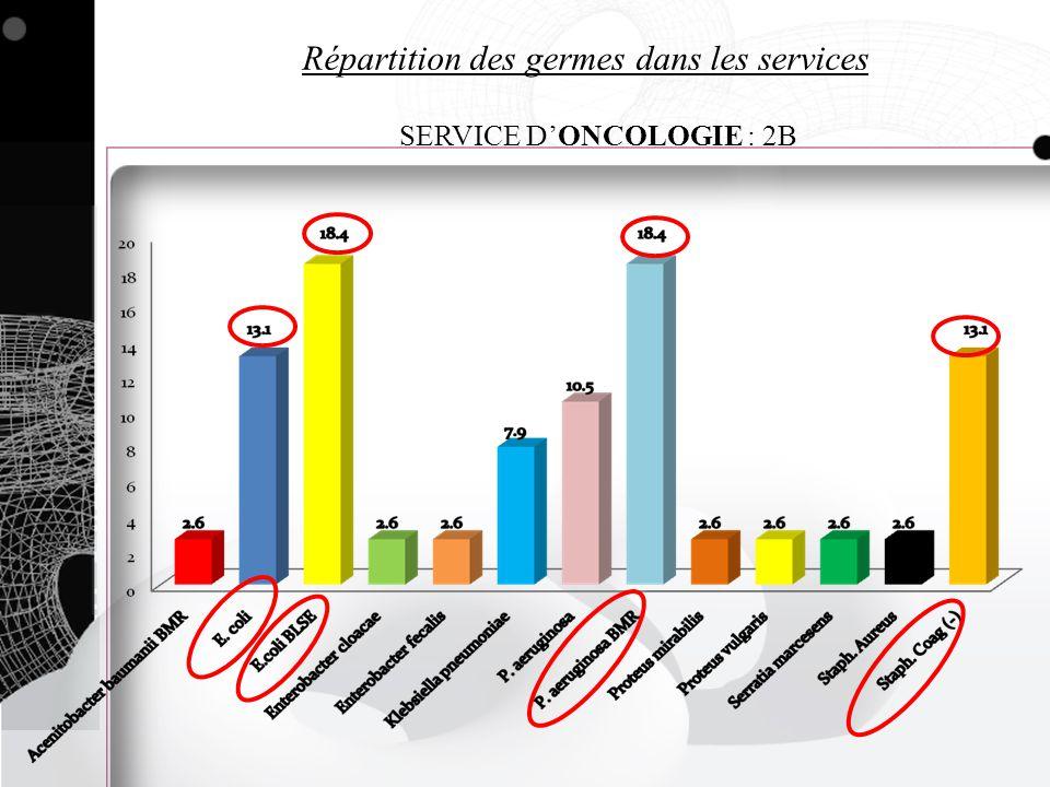 Répartition des germes dans les services SERVICE DONCOLOGIE : 2B